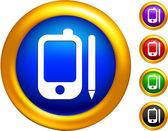 Ikony telefonu na przyciski z granic złoty — Wektor stockowy
