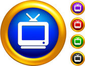 Television icon on buttons with golden borders — Stock Vector