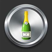шампанское значок на кнопке металлических интернет — Cтоковый вектор