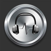 Headphones Icon on Metal Internet Button — Stock Vector