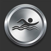Swimmer Icon on Metal Internet Button — Stock Vector