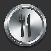 Icono de cuchillo y tenedor en metal botón internet — Vector de stock