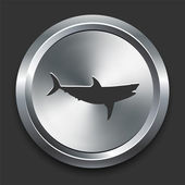 Shark Icon on Metal Internet Button — Stock Vector