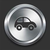 Ikona samochodu na metalowe internet przycisk — Wektor stockowy
