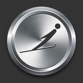 Narty ikona stoku na metalowe internet przycisk — Wektor stockowy