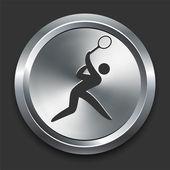 Tennis Icon on Metal Internet Button — Stock Vector