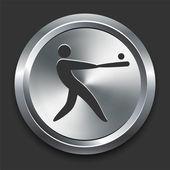 Baseball Icon on Metal Internet Button — Stock Vector