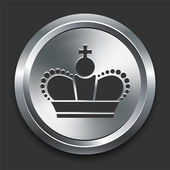 Icona di corona sul bottone metallico di internet — Vettoriale Stock