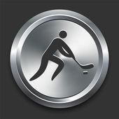 Hockey Icon on Metal Internet Button — Stock Vector