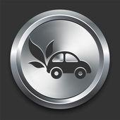 Auto pictogram op metalen internet knop — Stockvector