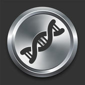 DNA Icon on Metal Internet Button — Stock Vector