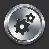 Gear Icon on Metal Internet Button — Stock Vector