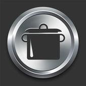 Pot Icon on Metal Internet Button — Stock Vector