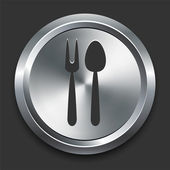 Spoon and Fork Icon on Metal Internet Button — Stock Vector