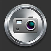 Camera Icon on Metal Internet Button — Stock Vector