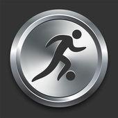 Soccer Icon on Metal Internet Button — Stock Vector