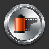 Icono de carrete foto botón metálico de internet — Vector de stock