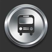 Icona di autobus sul bottone metallico di internet — Vettoriale Stock