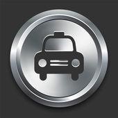 Cab pictogram op metalen internet knop — Stockvector