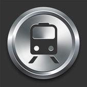 Train icône sur le bouton internet métallique — Vecteur