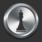король шахматы значок на кнопке металлических интернет — Cтоковый вектор