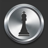 King Chess Icon on Metal Internet Button — Stock Vector