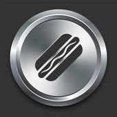 Hotdog Icon on Metal Internet Button — Stock Vector