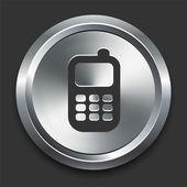 Icono de teléfono celular en metal botón internet — Vector de stock
