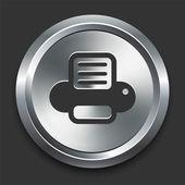 Sull'icona della stampante sul bottone metallico di internet — Vettoriale Stock