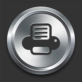 Printer Icon on Metal Internet Button — Stock Vector