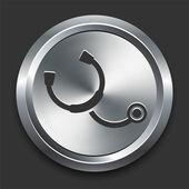 Stethoscoop pictogram op metalen internet knop — Stockvector
