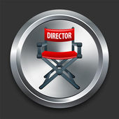 Director Chair Icon on Metal Internet Button — Stock Vector