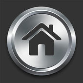 дом значок на кнопке металлических интернет — Cтоковый вектор