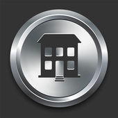 Building Icon on Metal Internet Button — 图库矢量图片