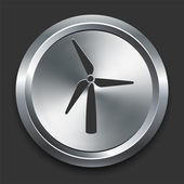 Wind-turbine-symbol metall internet-button — Stockvektor