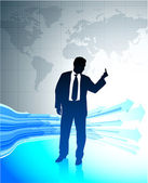 Homme d'affaires jeune tenant le doigt du milieu sur fond de carte mondial — Vecteur