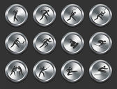Sport Athletes Icons on Metal Internet Buttons — Stock Vector