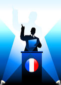 France Leader Giving Speech on Stage — Stock Vector