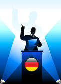 Germany Leader Giving Speech on Stage — Vettoriale Stock