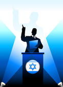 Israel Leader Giving Speech on Stage — Stock Vector
