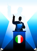 Italy Leader Giving Speech on Stage — Vettoriale Stock