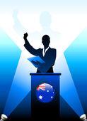Australia Leader Giving Speech on Stage — Stock Vector