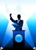 European Union Leader Giving Speech on Stage — Stock Vector