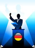 德国领导人演讲舞台上 — 图库矢量图片