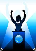 Avrupa Birliği'nin lideri sahnede konuşma — Stok Vektör