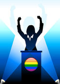 Gay Leader Giving Speech on Stage — Stock Vector