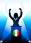 Italy Leader Giving Speech on Stage — Stock Vector