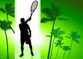 Tennis Player on Green Tropical Background — Stock Vector