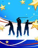 Maestro di karate con spada su sfondo di bandiera usa astratto — Vettoriale Stock
