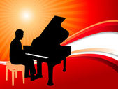Piano Musician on Abstract Summer Background — Stock Vector